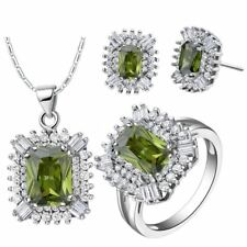 Women Solid Color Silver Plated Necklace Ring Earring Jewelry Sets