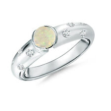Natural White Opal Diamond Ring in 14k White/Yellow/Rose Gold Size 3-13