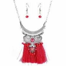 Women Vintage New Style Solid Pattern Beads And Tassel Decorated Necklace