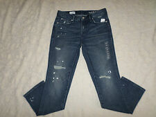 GAP 1969 JEANS WOMENS REAL STRAIGHT SKIMMER SIZE 26r DESTRUCTED STRETCH NEW NWT
