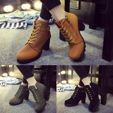 Fashion Women Lace Up Platform Block High Heel Ankle Boot Size 35-40 WT8804 02