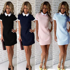Women's Casual white Collar Short Sleeve Evening Party dress Short Dress fit