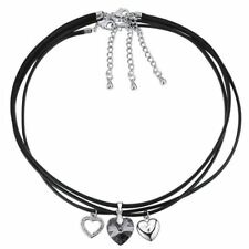 Women New Fashion Heart Shaped Crystal Decorated Rope Chain Necklace