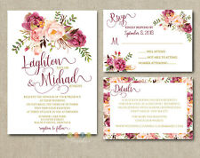 Personalized Luxury Rustic Wedding Invitations Mulberry Floral Suite