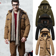 Mens Winter Jacket Military Parka Outerwear Warm Fur lined Thick Hooded Jacket