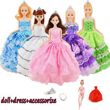 Handmade Dresses Wedding Party Princess Gown Clothes Barbie Doll girl Gift Toy