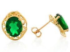 10k or 14k Yellow Gold Simulated Emerald Dazzling May Birthstone Post Earrings