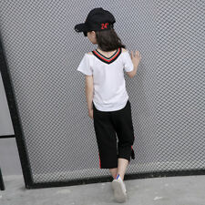 new Summer Girls Tops T-shirts&Cropped Pants Set 3-8 Years  Tees&Trousers Outfit