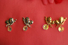 Butterfly Pierce Earrings with Dangling Clear Crystals