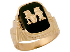 10k or 14k Solid Gold Nugget Design Onyx Letter M Mens Initial Statement Ring