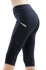 Women Black Pleated Side Skinny Legging High Waist Workout Cropped Stretchy Pant