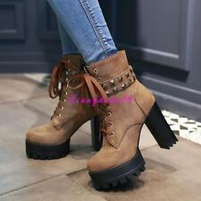 Women's lace up rivet Studs Platform Chunky Ankle Boots Suede High Heels Shoes