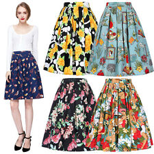 Vintage 50s 60s Pleated Cotton Skirt High Waist A-Line Skirt Swing Floral Skirts