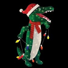 36 in. Pre-Lit Tinsel Alligator Christmas Lights DECORATION INDOOR/OUTDOOR YARD