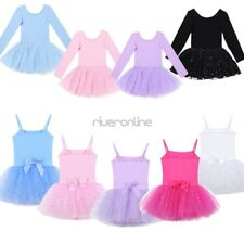 Kids Girls Tulle Ballet Tutu Dancer Gymnastics Dancewear Leotard Dress Costumes