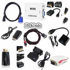 1080P HDMI Male To VGA Audio Video Converter Box Cable For PC HDTV Projector RF