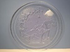 Christmas Holiday Serving Platter Round Glass Clear Heavy Santa Sleigh