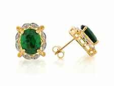 10k or 14k Two-Tone Gold Simulated Emerald Lovely May Birthstone Earrings