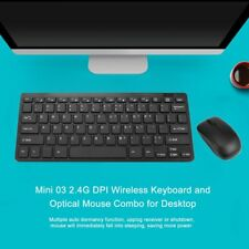 Mini Thin 2.4G Wireless Keyboard and Optical Mouse Combo Kit for Desktop lot RX