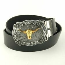 Men New Style Metal Material Golden Color Buckle PU Leather Belt