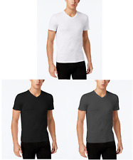 Calvin Klein Mens Cotton V-Neck Slub Tee T-Shirt.