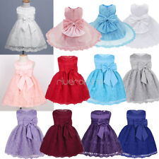 Flower Baby Girl Bow Princess Dress Toddlers Party Wedding Formal Lace Dresses