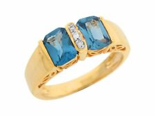 10k or 14k Real Gold Simulated Blue Zircon White CZ Filigree Gallery Ladies Ring
