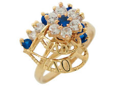 10k or 14k Gold Motion Heart Love Spinning Simulated Sapphire White CZ Ring