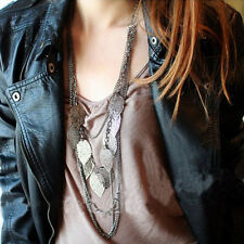 Vintage Bohemian Leaves Multi-layer Long Necklace Pendant Chain Elegant Jewelry