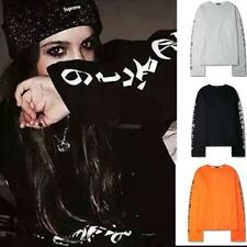 Women Men O-Neck Long Sleeve Letter Print Pullover Casual Loose WT88