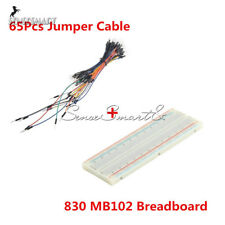 65Pcs Jumper Cable Wires + MB102 830 Tie Points Solderless PCB Breadboard