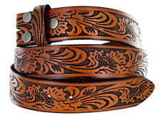 Western Embossed Brown Leather mens Belt Strap Snaps for Interchangeable Buckle