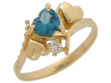10k or 14k Yellow Gold December Heart Simulated Blue Zircon White CZ Cute Ring