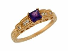 10k or 14k Yellow Gold Natural Amethyst White Topaz Antique Style Ladies Ring