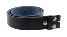 """Men's Genuine Leather Belt Strap - with Smooth Grain Finish 1.5"""" Wide with Snaps"""
