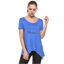 Women's Short Sleeve Solid Asymmetrical Pocket Casual T-Shirt WT88