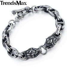 Mens Chain 10mm 316L Stainless Steel Bracelet Silver Wolf Head Mariner Oval Link