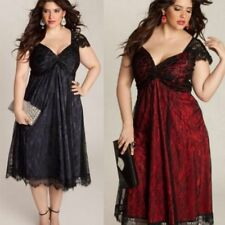 New Women Plus Size Sexy V Neck Lace Dress Loose Casual GOTHIC Dresses Clothing
