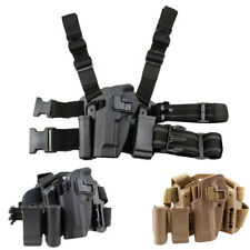 Tactical Left Thigh Rig Pistol Holster Drop Holster Magazine Torch Pouch for M9