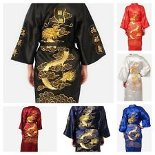Chinese Men's Long Satin Silk Robes Embroidery Kimono Bath Gown Dragon Style New