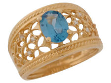 10k or 14k Yellow Gold Simulated Blue Zircon White CZ Filigree Ladies Wide Ring