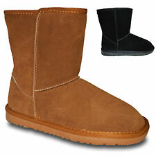 LADIES FLAT WARM PULL ON CLASSIC REAL LEATHER SHEEPSKIN ANKLE  BOOTS SHOES SIZE