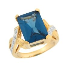 10k or 14k Two Tone Gold Simulated Blue Zircon White CZ Statement Ladies Ring