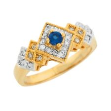 10k or 14k Two Tone Gold Simulated Blue Sapphire Pave Set White CZ Ladies Ring