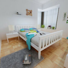 Single Double Bed in White Wooden Frame Finished Wooden Frame Bedroom Furniture