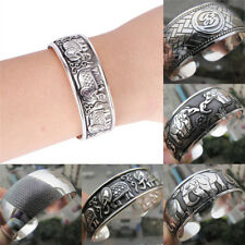 Tibetan Silver Plated Elephant Tibet Totem Bangle Jewelry Cuff Wide Bracelet New