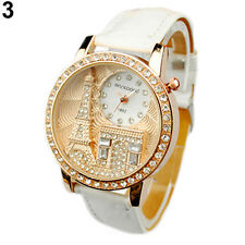 Casual Women Lady Eiffel Tower Dial Faux Leather Band Quartz Wrist Watch Helpful