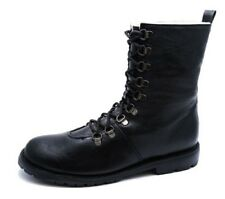 LADIES FLAT BLACK LACE-UP MILITARY COMBAT WARM LINED BIKER ANKLE BOOTS SHOES 3-7