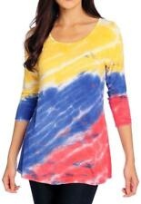 NEW - OSO Casuals® Knit Tie-Dye 3/4 Sleeve Scoop Neck Keyhole Back Top