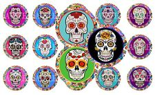 Day of the Dead Pre-Cut 1 Inch Bottle Cap Images (4 Options)